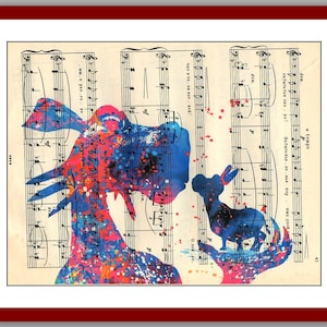 Donkey And Dragon Poster Shrek Love Print Watercolor Wall Decor Art 8 X 10 Mixed Media Digital Upcycled Musical Notes
