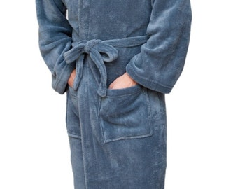Customized Wrapped In A Cloud Charcoal Gray Mens Robe - 100 Thread Colors  to Choose From f293e2e9f