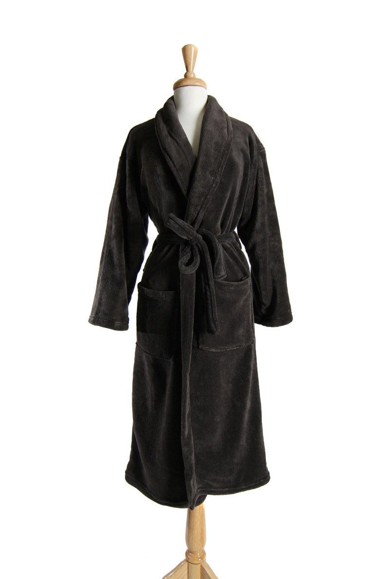 Monogrammable Charcoal GRAY His and Hers Bath Robe 100 Thread Colors to Choose From by Wrapped in a Cloud