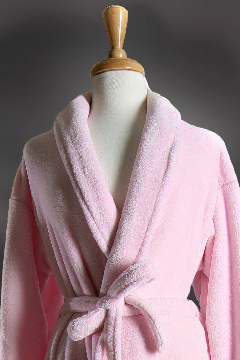 Wrapped In A Cloud LIGHT PINK  Plush Spa Robe Customize It 100 Thread Colors to Choose From