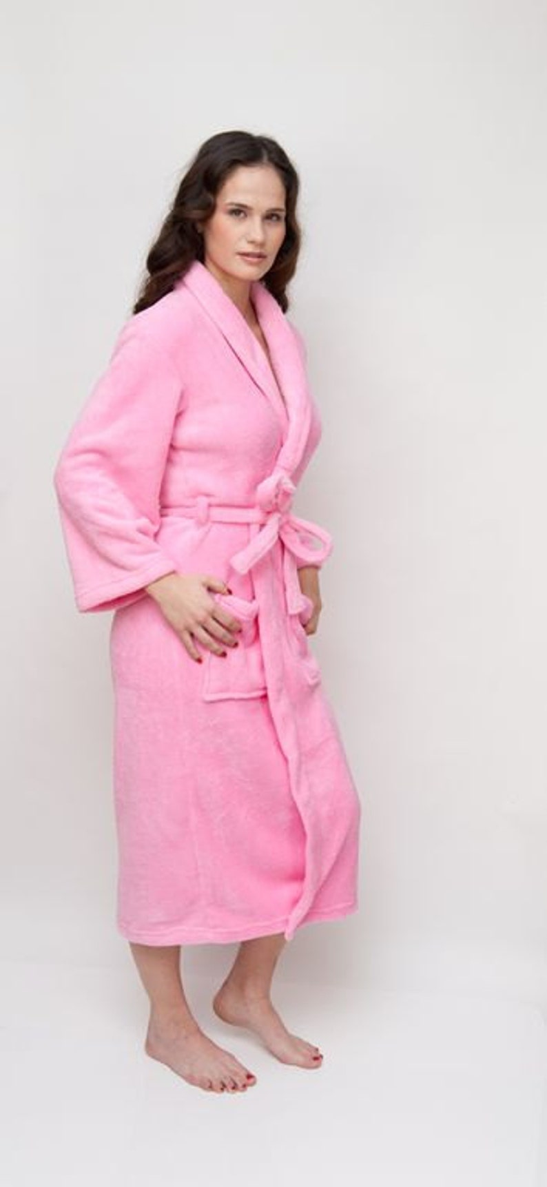 His and Hers Bathrobe Monogram Bathrobes Bridal Robes Pink Bathrobe Plush Robe by Wrapped in a Cloud Bride and Bridemaid Robes