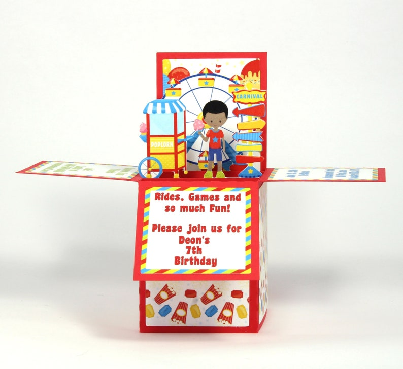 Amusement Park Invitations African American Invitation Birthday Kids Invites 3D Theme Boxcard
