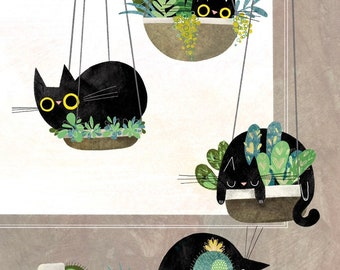 Four Cats Hanging Plants Print - 4 Cat Illustration - Cat Lover Gift