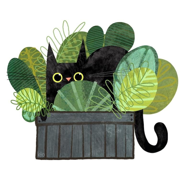 Cat Plant Print  Cat Illustration  Cute Art  Cat Lover image 0