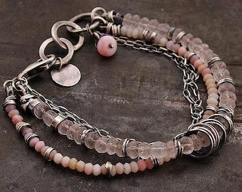 oxidised silver pastel  pink opal & rose quartz  bracelet • 925 sterling silver • chain multi-link bracelet • birthday gift for women