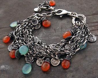 USE CODE - 15OFF • SALE 15% • 925 sterling silver charms layered multi strand chain bracelet •  blue chalcedony carnelian summer jewelry
