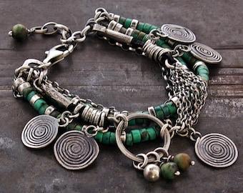 African Turquoise bracelet raw silver bracelet • boho bracelet • sterling silver bracelet • layered  bracelet • gift for her