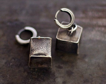 raw sterling silver cube earrings • hugie hoops • oxidized silver •  gift for her • geometric earrings • inspirational women gift