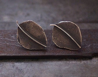 oxidised sterling silver leaf stud earrings • raw silver  • post leaf • 925 sterling silver  • inspirational gif for women  •