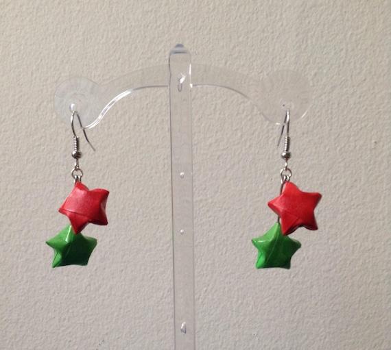 Christmas Origami Star Earrings