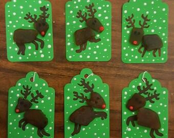 Rudolph Beach Glass Christmas Reindeer Gift Tags - Set of 6
