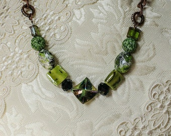Chartreuse and Copper Chain Necklace