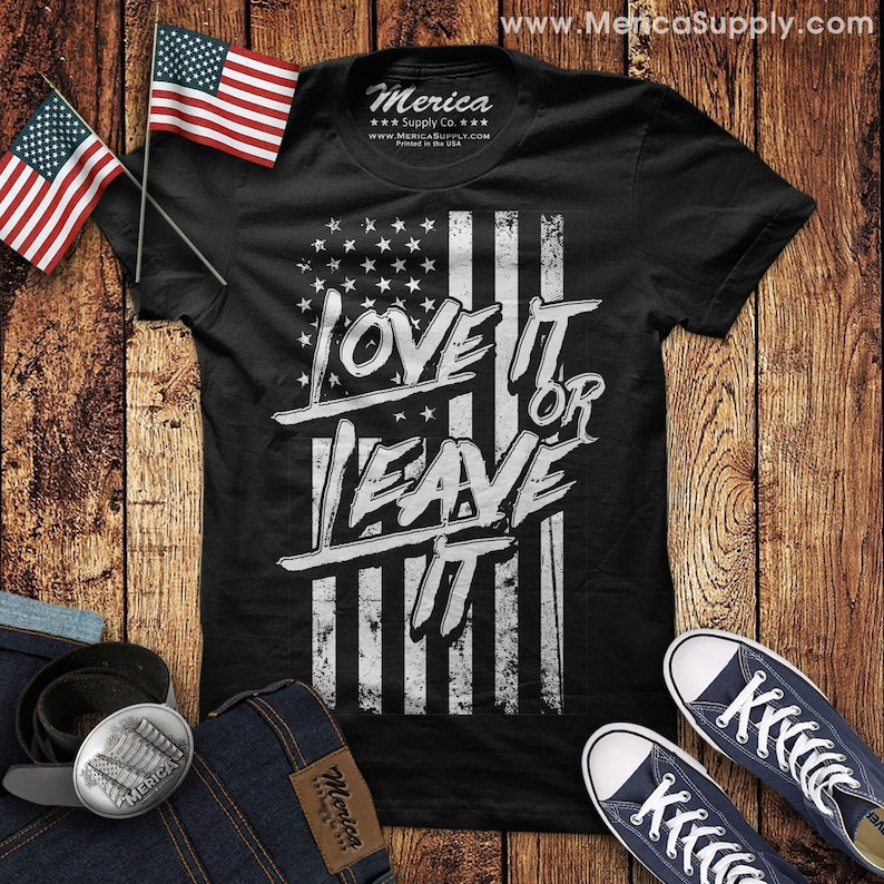 Long sleeve t-shirt USA love it or leave it American pride US flag America first