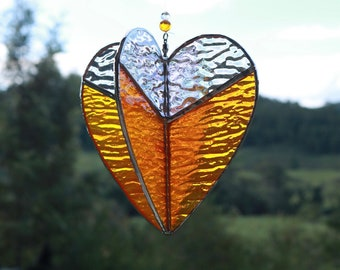 Orange Heart Spinner in stained glass,  with optional stand, ready to ship Australian Handmade