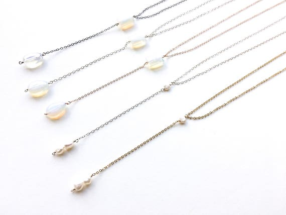 Opalite or Pearl Y-Necklace // 14k Gold Filled, 14k Rose Gold Filled, Sterling Silver or Gunmetal // Gifts for Her // Bridesmaid Gift