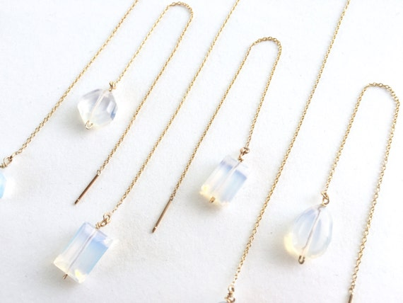 Faceted Opalescent and Gold Threaded Earring // Bride // Bridesmaid // Gifts for Her // Stocking Stuffer