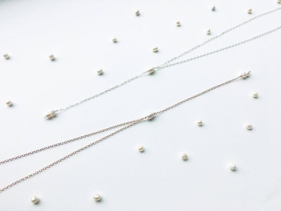 Delicate Pearl Choker Y-Necklace // 14k Gold Filled, 14k Rose Gold Filled, or Sterling Silver