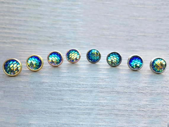 Blue Mermaid Studs // Silver, Gunmetal, Gold or Rose Gold // Bridesmaid Gift // Gifts for Her // Wedding // Stocking Stuffer