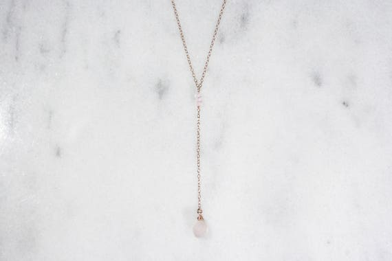 Rose Quartz and 14k Rose Gold Filled or Gold Filled Y-Necklace // Delicate Blush Lariat Necklace // Gifts for Her // Bridesmaid Gift