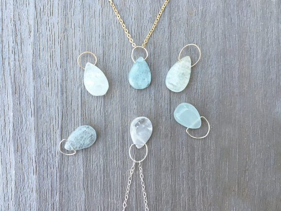 Aquamarine Minimalist Necklace // Sterling Silver or 14k Gold Plated // Gifts for Her // Bridesmaid // Bride // Stocking Stuffer