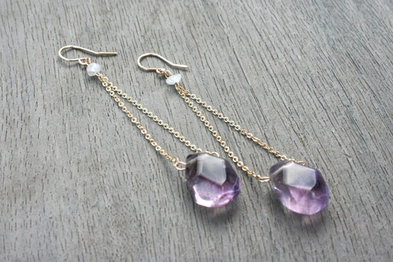 Lavender Fluorite, Moonstone and Gold Drop Earrings // Bridesmaid Gift // Gifts for Her // Wedding // Stocking Stuffer
