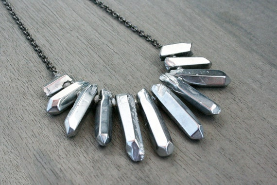 Polished Silver Quartz and Gunmetal Statement Necklace // Gifts for Her // Crystal // Collar // Stocking Stuffer