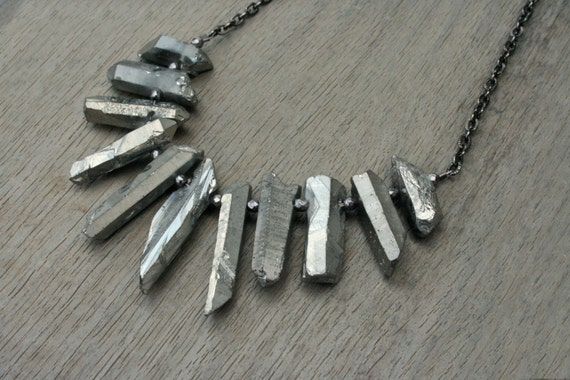 Quartz, Hematite and Gunmetal Statement Necklace // Bridesmaid // Gifts for Her // Stocking Stuffer