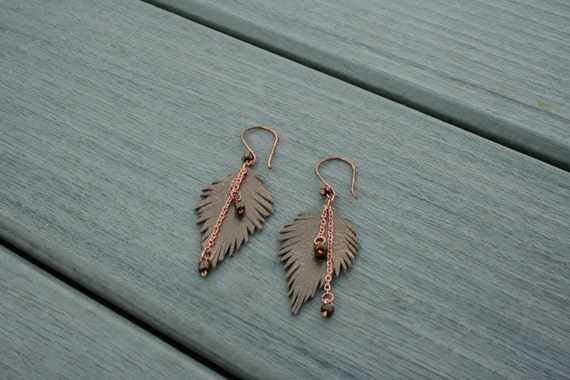 Bronze Leather Feather Earrings // Gifts for Her