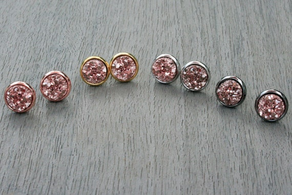 Rose Gold Druzy Studs // Silver, Gunmetal, Gold or Rose Gold