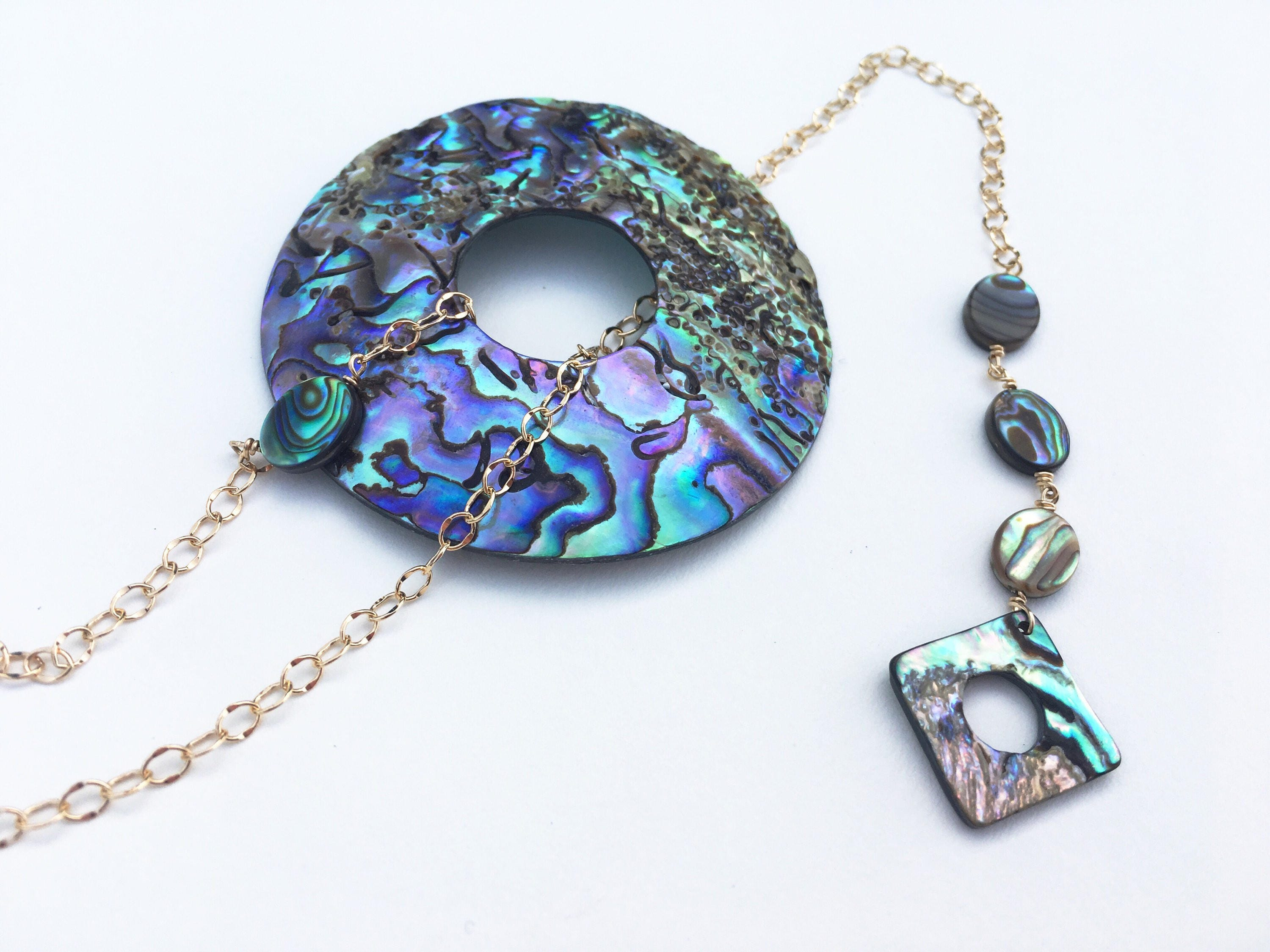 shell pendant heart dainty paua necklace pin abalone tiny