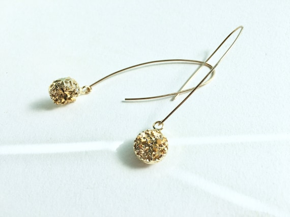 Druzy Dangle Earrings // Silver, Gold or Rose Gold /