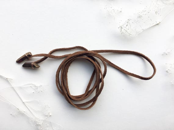 Quartz & Brown Suede Lariat // 14k Gold Filled, 14k Rose Gold Filled or Sterling Silver
