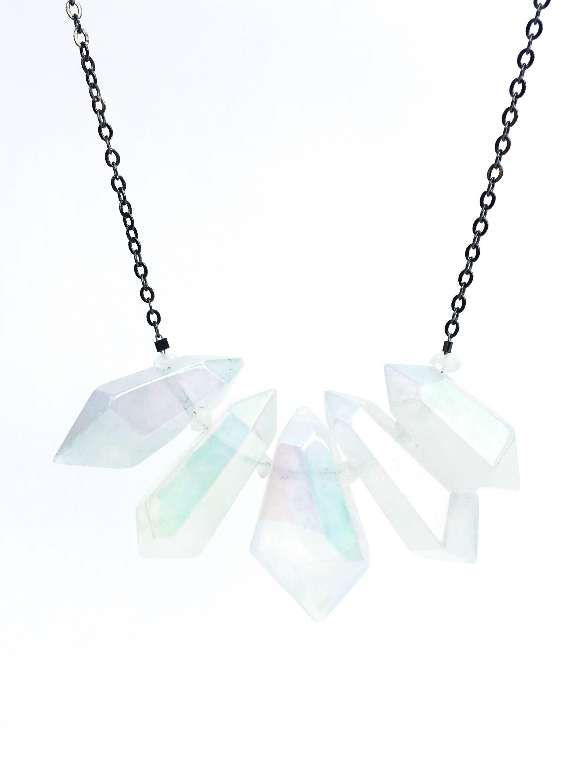 Aura Quartz & Moonstone Pendant Statement Necklace // 14k Rose Gold ...