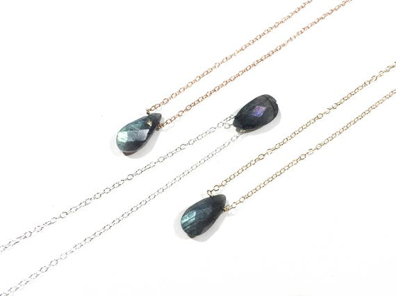 Labradorite Teardrop Choker Necklace // Sterling Silver, 14k Gold Filled or 14k Rose Gold Filled