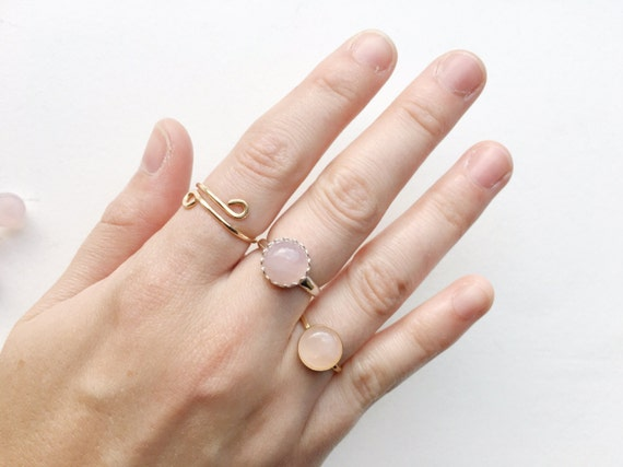 Rose Quartz Ring // Sterling Silver or 14k Gold Filled