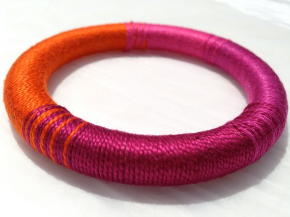 "Thread Wrapped Wooden Bangle, Custom Colors, ""Zooey"" // Bridesmaid Gift // Gifts for Her // Wedding // Stocking Stuffer"