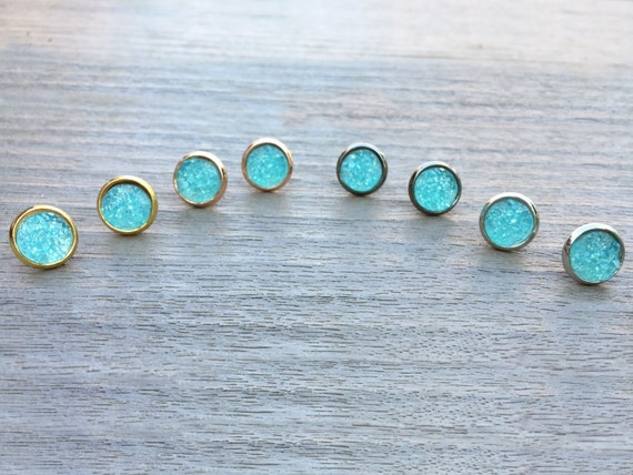 Aqua Druzy Studs // Silver, Gunmetal, Gold or Rose Gold // Bridesmaid Gift // Gifts for Her // Wedding