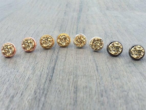 Gold Druzy Studs // Silver, Gunmetal, Gold or Rose Gold // Bridesmaid Gift // Gifts for Her // Wedding