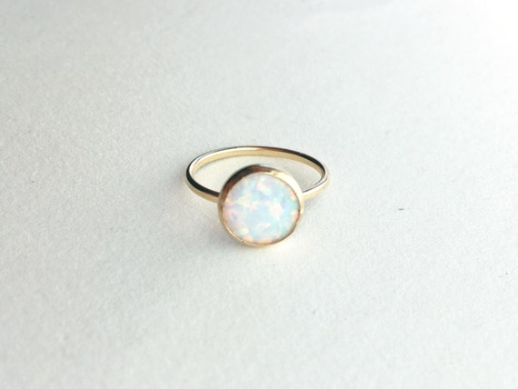 White Opal Ring // 14k Gold Filled