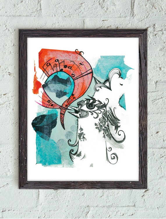 What // Art Print // Bird // Hand Drawn // Artwork // Home Decor // Minimalist // Modern // Bold // Blue // Orange // Birds