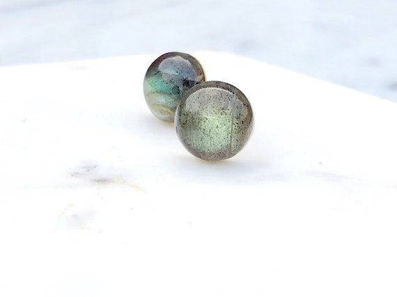 Labradorite Studs // Silver or Gold // Hypoallergenic // Stainless Steel Studs
