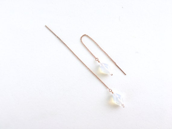 Faceted Opalescent and Rose Gold Threaded Earring // Bride // Bridesmaid // Gifts for Her // Stocking Stuffer