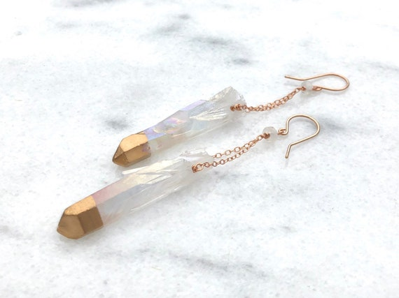 Gold-Dipped Quartz and 14k Rose Gold Filled Earrings //