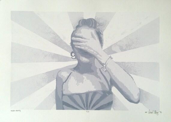 "Grey Toned Screen Print, ""Hidden Identity"", 15"" x 21"" // Art // Human // Figurine // White // Decor // Grey // Punk // Minimal"