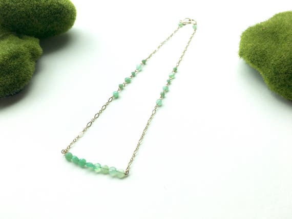 Chrysoprase and 14k Gold Filled Choker Necklace