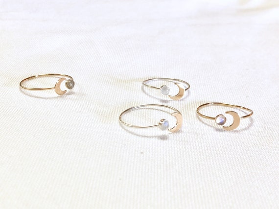 14k Gold Filled or Sterling Silver Open Ring // Moonstone and Crescent Moon Ring // Adjustable
