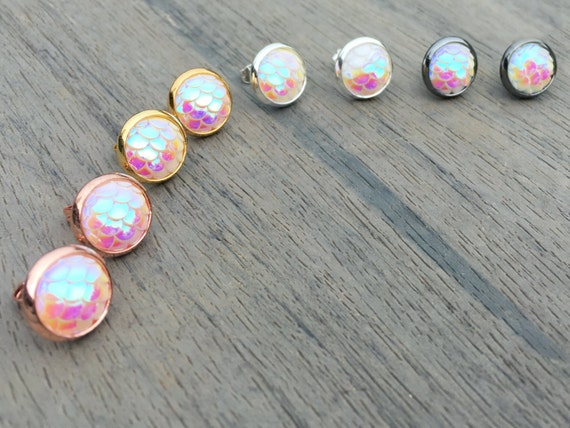 Iridescent White Mermaid Studs