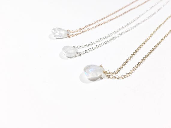 Moonstone Teardrop Choker Necklace // Sterling Silver, 14k Gold Filled or 14k Rose Gold Filled