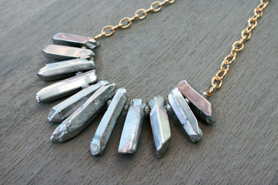 Polished Silver Quartz and Gold Statement Necklace // Bridesmaid // Gifts for Her // Stocking Stuffer