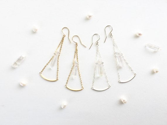 Iridescent Quartz Earrings // Sterling Silver, Rose Gold Filled, 14k Gold Plated